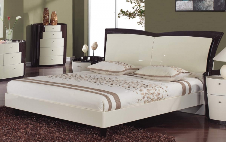New York Platform Bed - Beige/Wenge