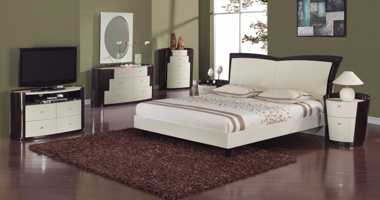 New York Platform Bedroom Set - Beige/Wenge - Global Furniture