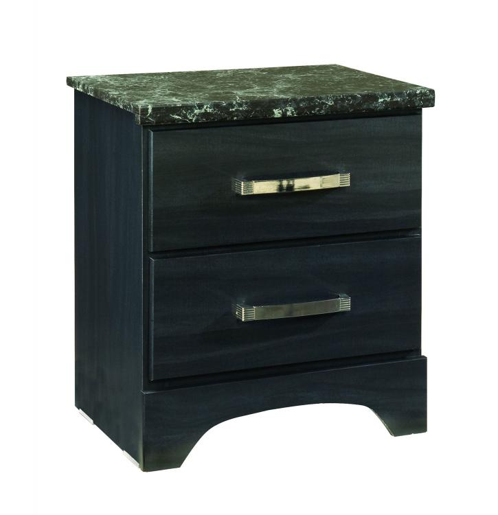 Olivia Nightstand - Engineered Wood/Oak Wood Graining Laminate - Black