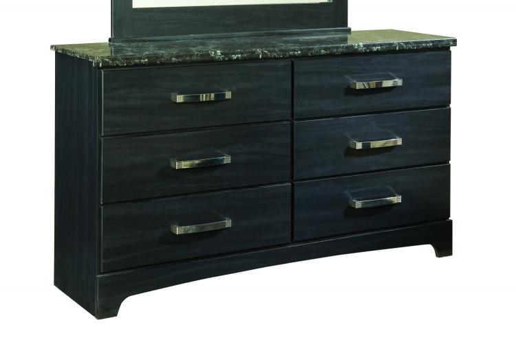Olivia Dresser - Engineered Wood/Oak Wood Graining Laminate - Black