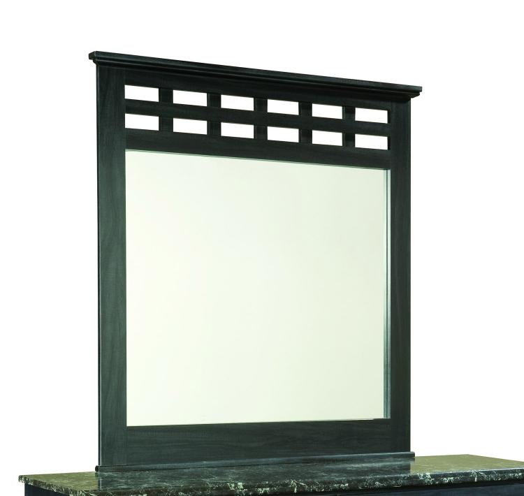 Olivia Mirror - Engineered Wood/Oak Wood Graining Laminate - Black