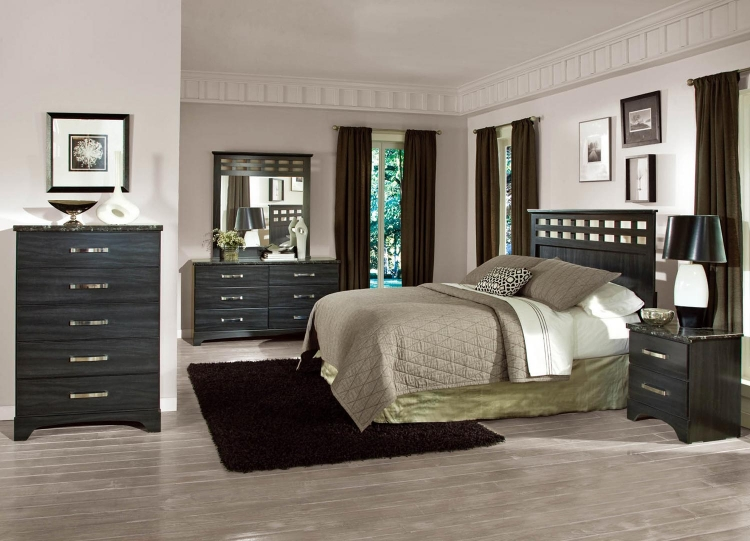 Olivia Bedroom Set - Engineered Wood/Oak Wood Graining Laminate - Black - Global Furniture