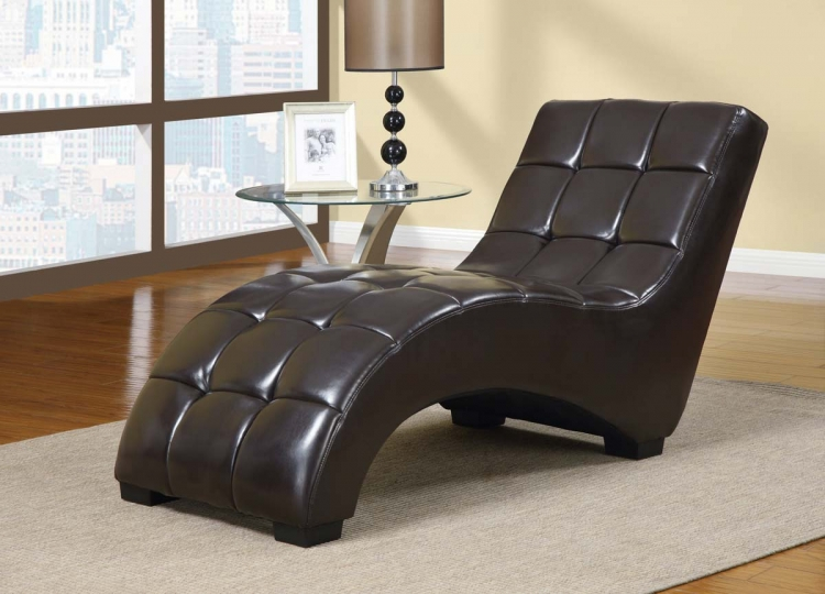 2000 Chaise - Vinyl - Wenge/Black Legs - Global Furniture