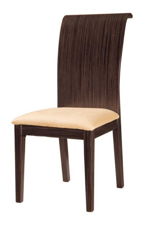 Sienna Dining Chair-Beige Microfiber with Dark Zebrano Wood