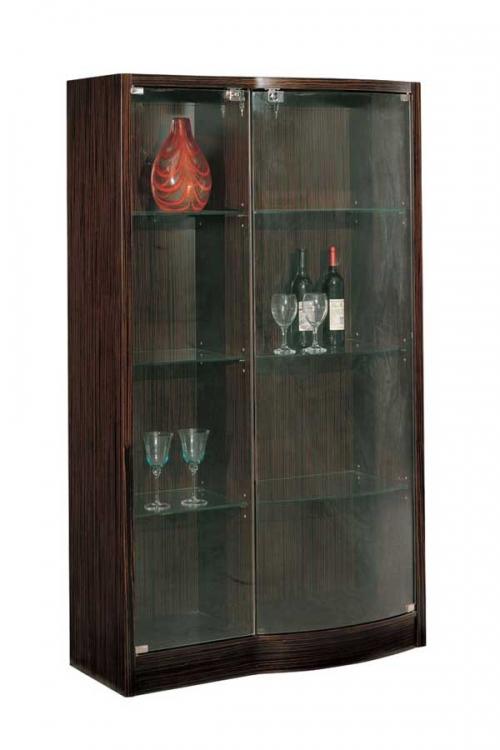 Global Furniture USA Siena Vetrina Curio-China Cabinet-Dark Zebrano