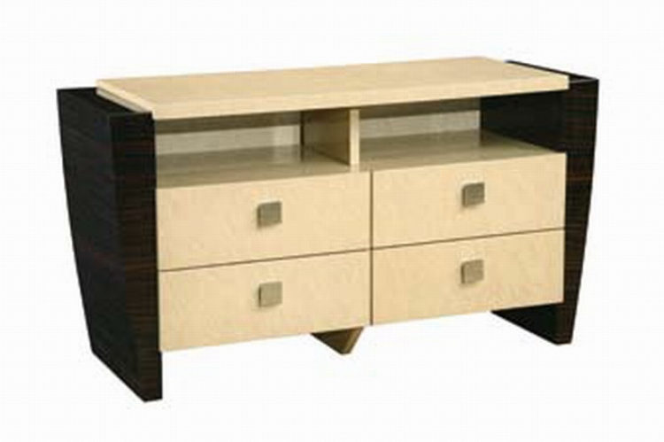 Simone Entertainment Unit - Beige/Dark Mahogany