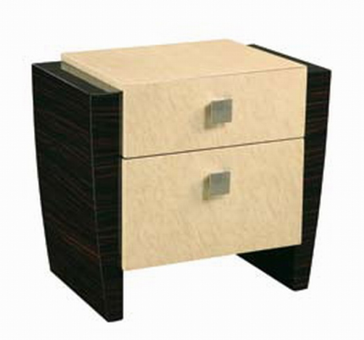 Simone Night Stand - Beige/Dark Mahogany