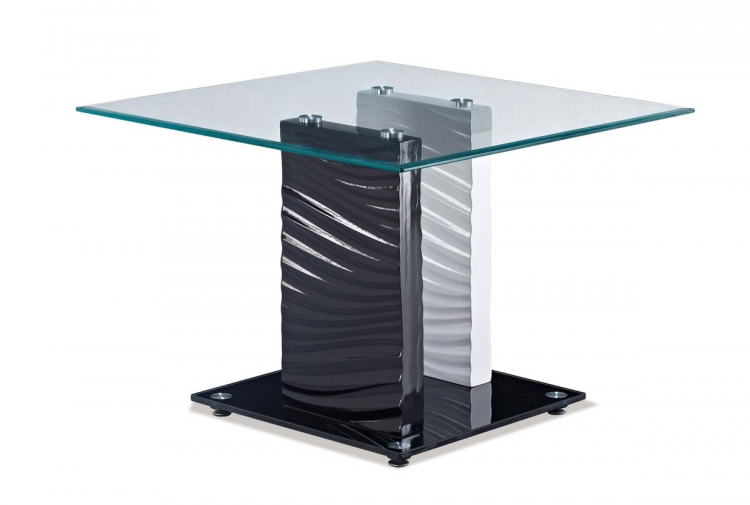 1021 End Table - White/Black - MDF Legs - Global Furniture