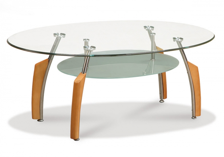 138 Coffee Table - Silver/Beech - Metal and Wood Legs