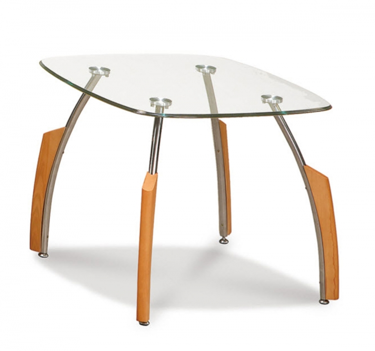 138 End Table Beech - Silver/Beech - Metal and Wood Legs - Global Furniture