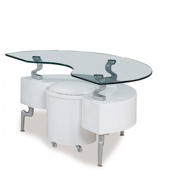 288 End Table - White - MDF/Vinyl/Metal Legs