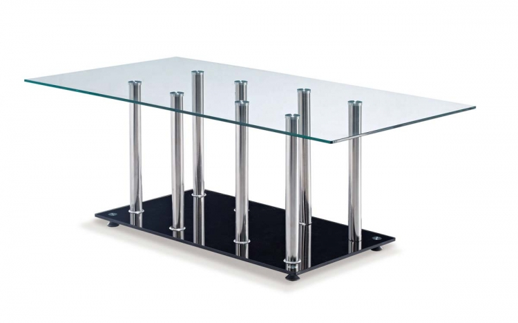 368 Coffee Table - Black - Stainless Steel Legs - Global Furniture