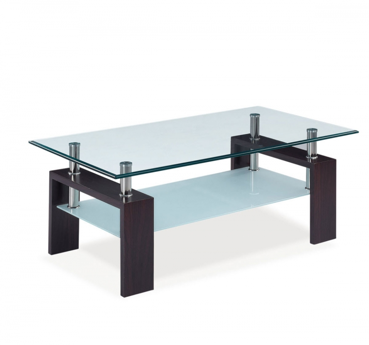 646 Coffee Table - Clear Glass - Dark Walnut Wood Legs