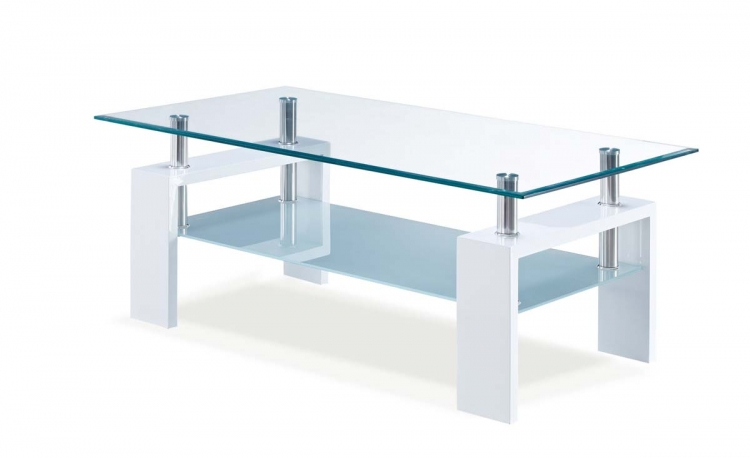 648 Coffee Table - Frosted Glass White - MDF Wood Legs
