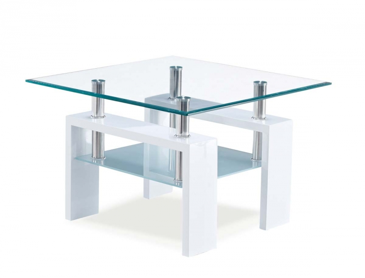648 End Table - Frosted Glass White - MDF Wood Legs - Global Furniture