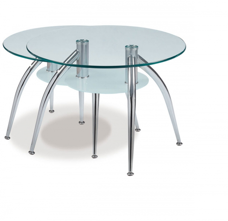 659 End Table - Frosted Glass - Metal Legs - Global Furniture