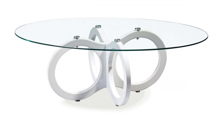 715 Coffee Table - Glossy White - MDF Legs - Global Furniture