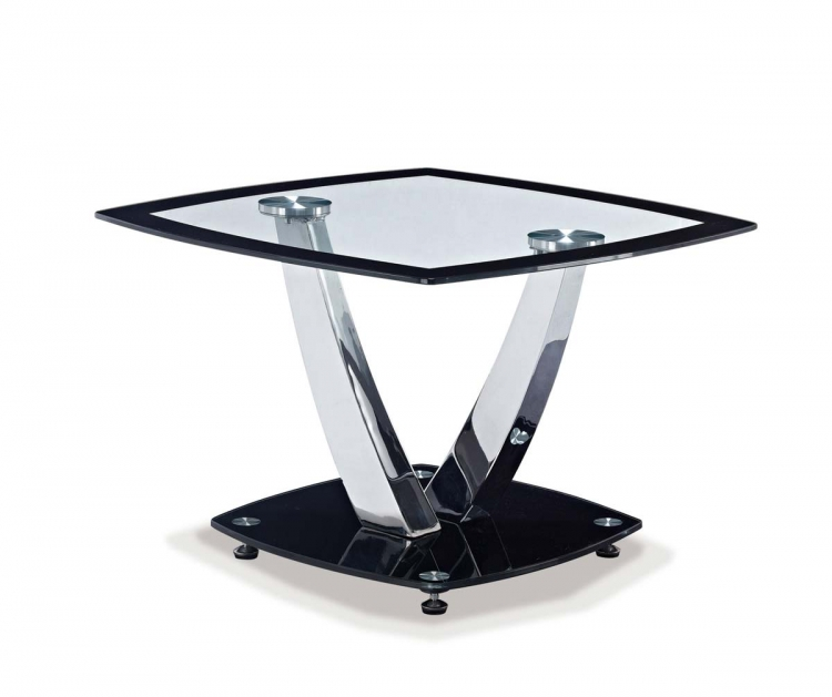 716 End Table - Black - Metal Legs - Global Furniture