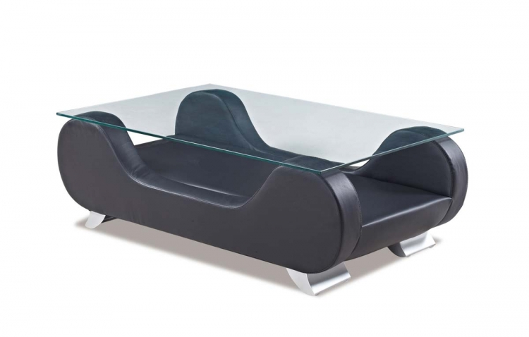 7208 Coffee Table - Black - Bonded Leather - Global Furniture