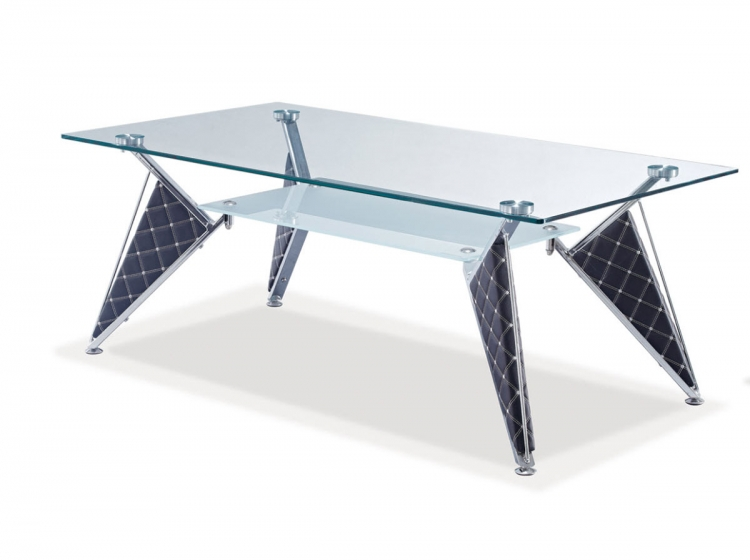 A107 Coffee Table - Frosted Glass- Silver/Black/Metal/Vinyl Legs - Global Furniture