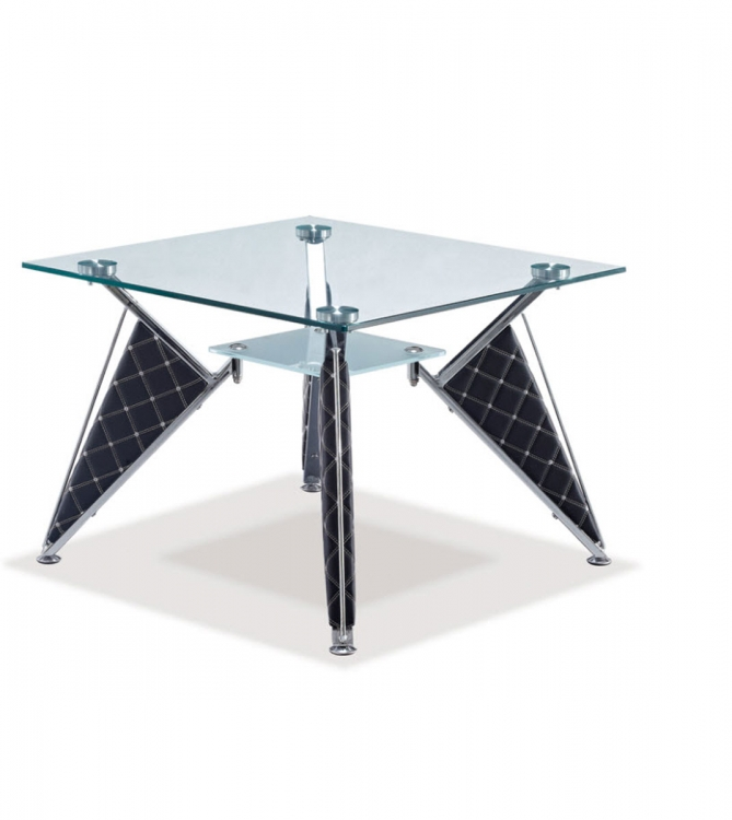 A107 End Table - Frosted Glass- Silver/Black/Metal/Vinyl Legs