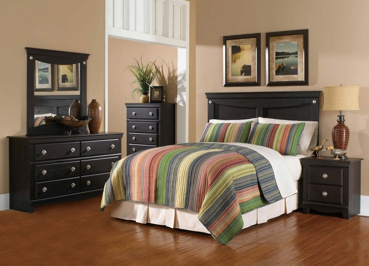 Taylor Bedroom Set - Engineered Wood/Wooly Pecan Graining Laminate - Dark Espresso - Global Furniture