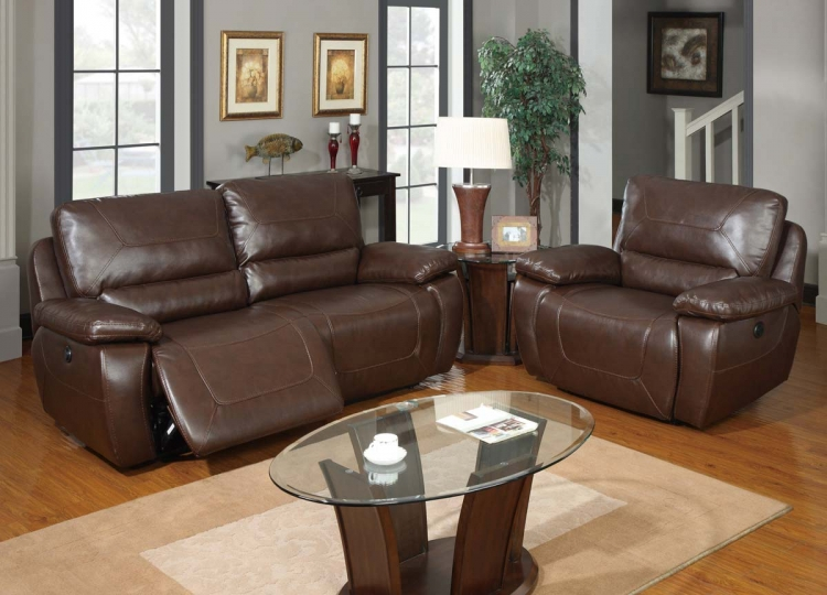 1027 Power Reclining Sofa Set - Bonded Leather - Brown - Global Furniture
