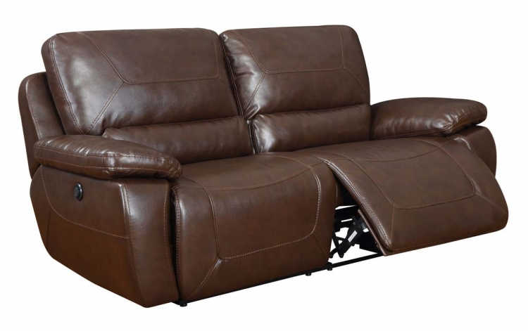 1027 Power Reclining Sofa - Bonded Leather - Brown - Global Furniture