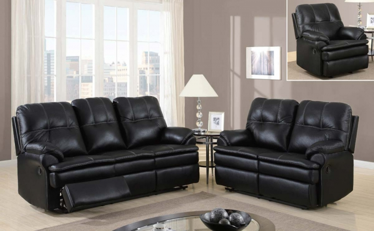 1078 Motion Sofa Set - Printed MicroFiber - Black - Global Furniture