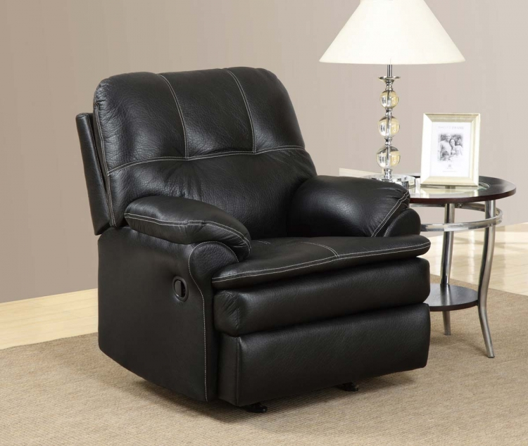 1078 Rocker Recliner Chair - Printed MicroFiber - Black