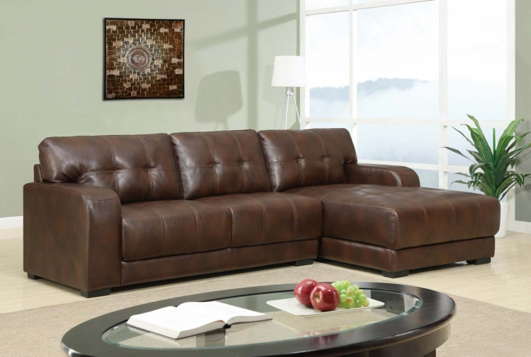 11927 2 Piece Sectional Sofa - Bonded Leather - Brown - Global Furniture
