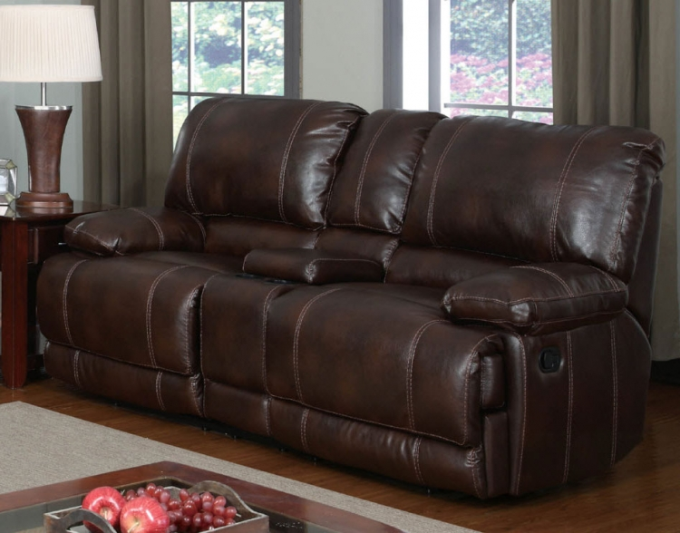 1953 Console Reclining Love Seat - Bonded Leather - Brown