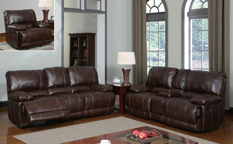 1953 Reclining Sofa Set - Bonded Leather - Brown