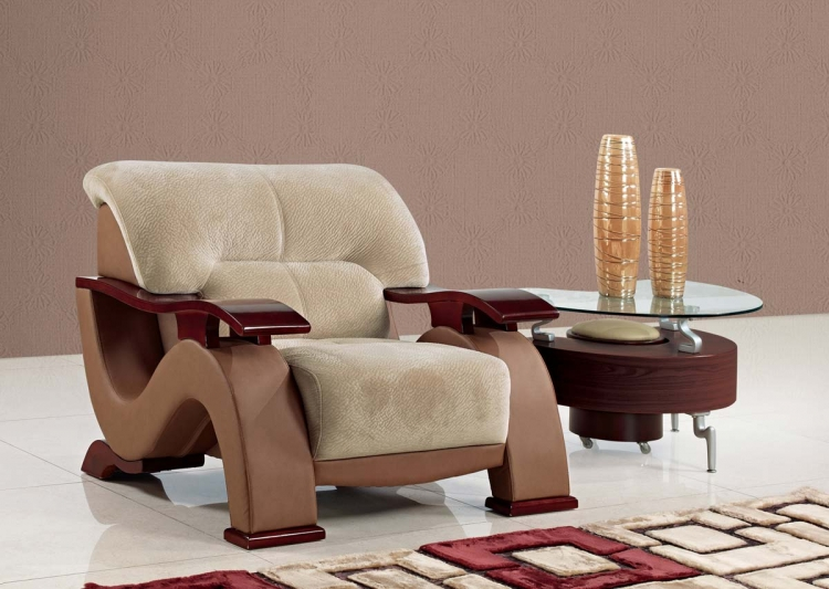 2033 Chair - Choc Brown Fabric/Dark Brown Vinyl/Mahogany Wood Legs - Global Furniture