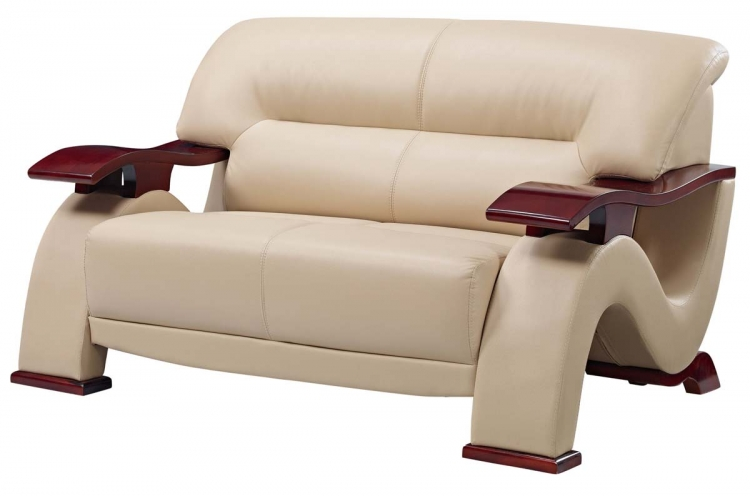 2033 Love Seat - Beige Fabric/Light Brown Vinyl/Mahogany Wood Legs - Global Furniture
