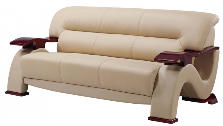 2033 Sofa - Beige Fabric/Light Brown Vinyl/Mahogany Wood Legs - Global Furniture