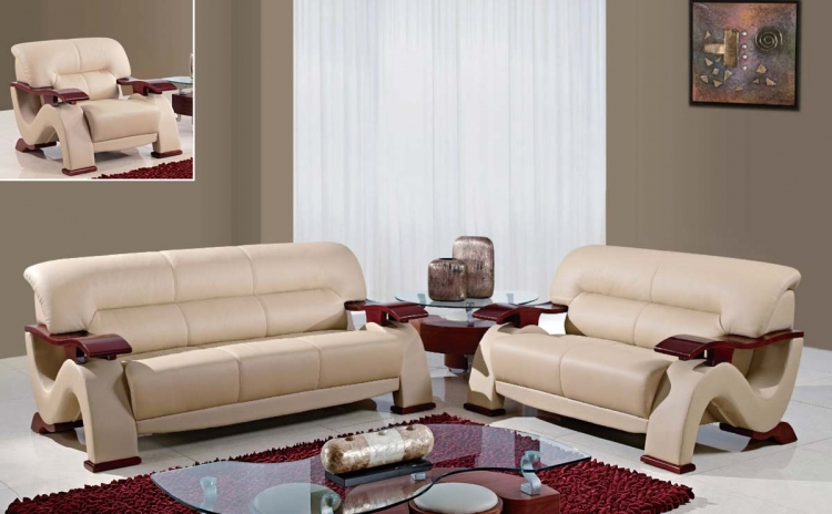 2033 Sofa Set - Beige Fabric/Light Brown Vinyl/Mahogany Wood Legs - Global Furniture