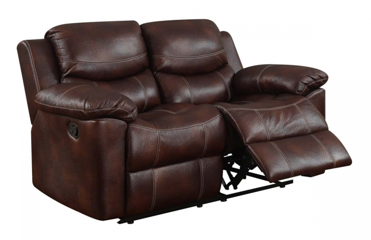 2128 Reclining Love Seat - Printed MicroFiber - Brown - Global Furniture