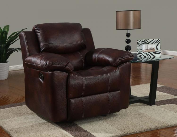 2128 Rocker Recliner Chair - Printed MicroFiber - Brown