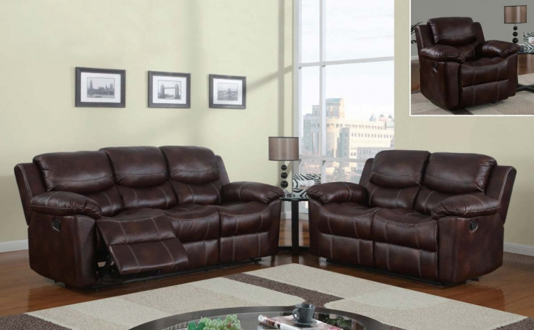 2128 Reclining Sofa Set - Printed MicroFiber - Brown - Global Furniture