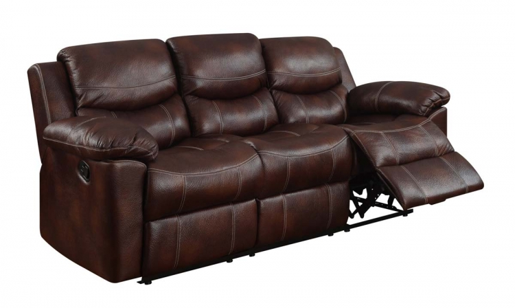 2128 Reclining Sofa - Printed MicroFiber - Brown - Global Furniture