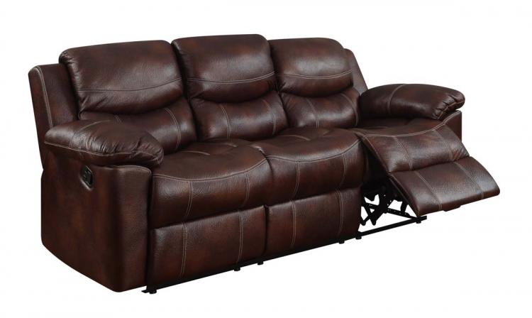 2128 Reclining Sofa - Printed MicroFiber - Brown