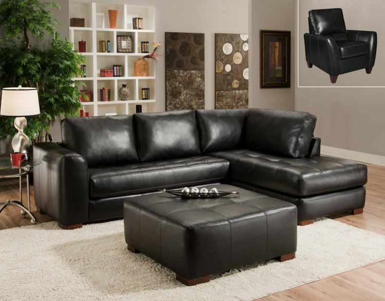 2750 Sectional Sofa Set - Bonded Leather - Black - Global Furniture