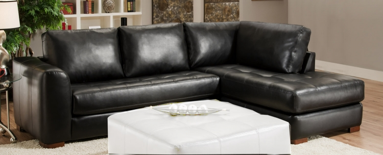 2750 Sectional Sofa - Bonded Leather - Black - Global Furniture