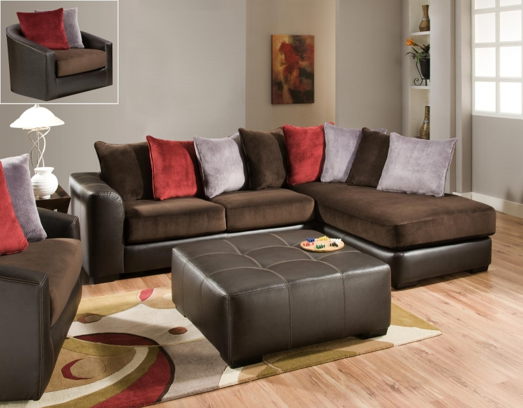 2780 Sectional Sofa Set - Champion/Bicast - Chocolate - Global Furniture