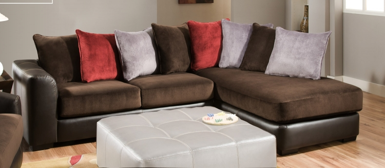 2780 Sectional Sofa - Champion/Bicast - Chocolate - Global Furniture