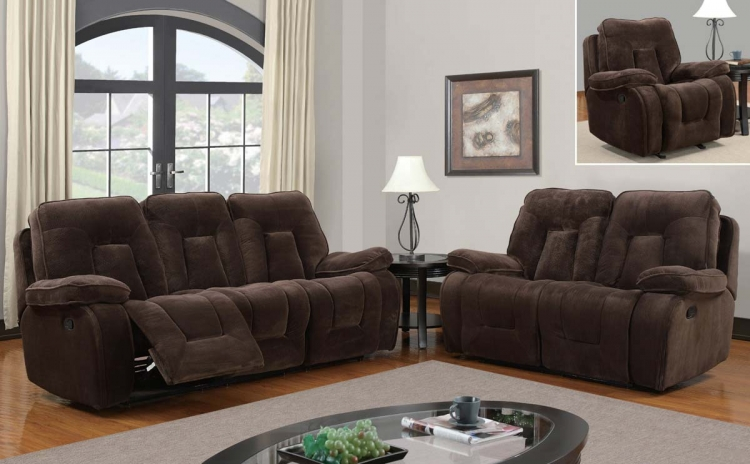 3090 Reclining Sofa Set - Champion - Chocolate - Global Furniture