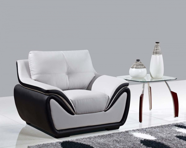 3250 Chair - Grey/Black/Bonded Leather with Wood Legs - Global Furniture