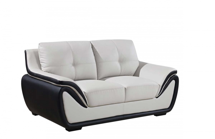 3250 Love Seat - Grey/Black/Bonded Leather with Wood Legs