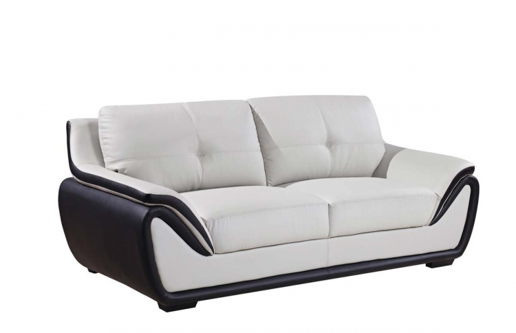 3250 Sofa - Grey/Black/Bonded Leather with Wood Legs